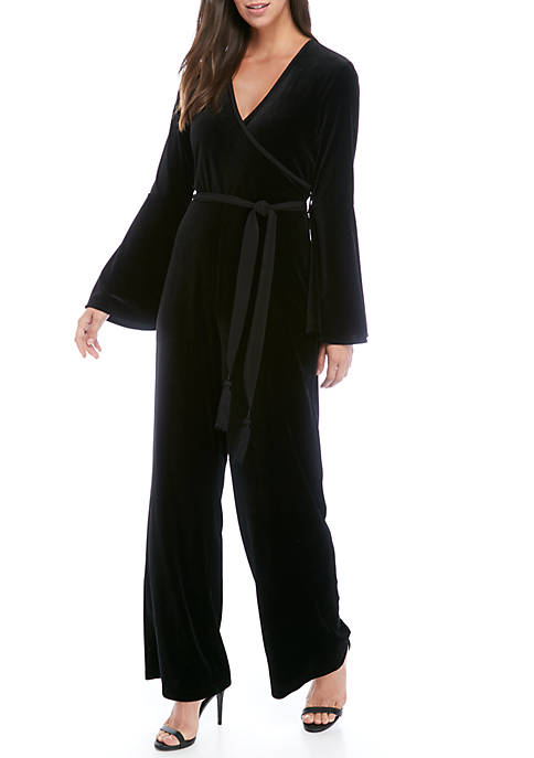 Calvin Klein Womens Long Bell Sleeve Velvet Jumpsuit