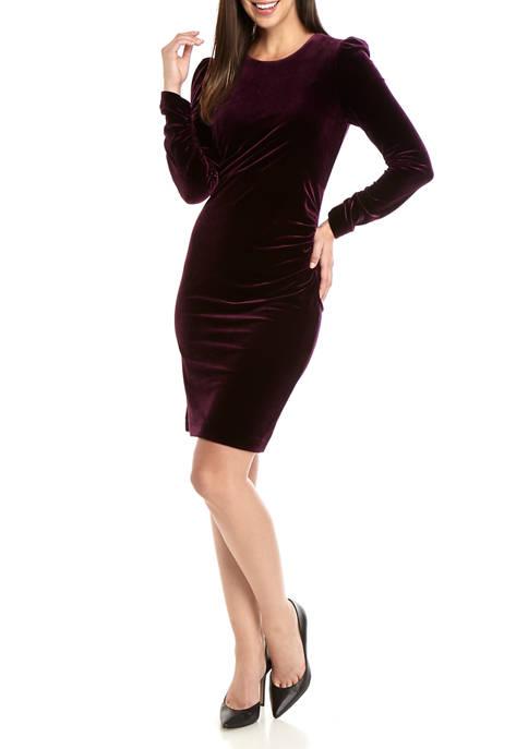 Calvin Klein Womens Long Sleeve Side Ruch Velvet