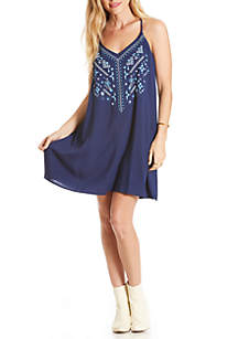 Embroidered Mirror Swing Dress