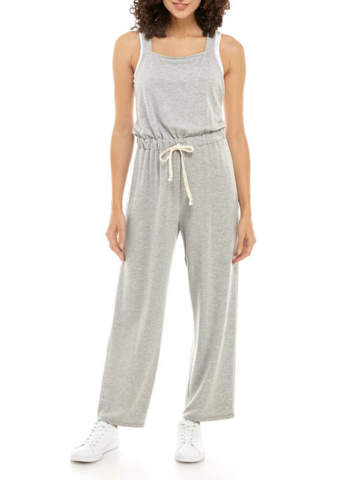 Eyeshadow Juniors Tie Waist Knit Jumpsuit