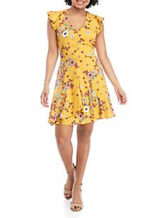 Eyeshadow High Low Ruffle Floral Dress