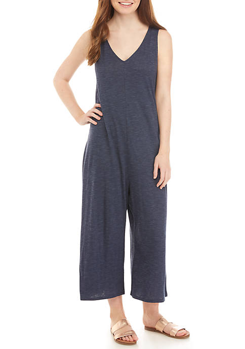 Eyeshadow V Neck Tank Knit Jumpsuit