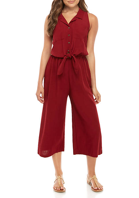 Eyeshadow Sleeveless Woven Collar Tie Solid Jumpsuit