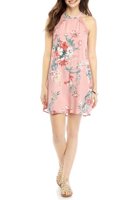 High Neck Lace Trim Shift Dress