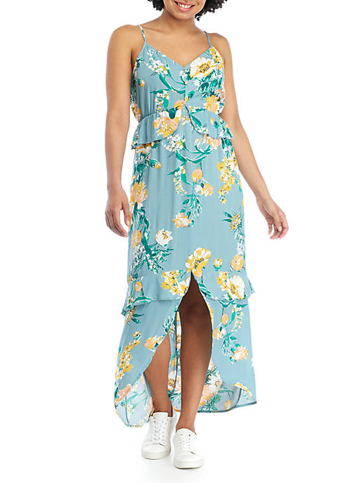 Eyeshadow Juniors Ruffle Floral Maxi Dress