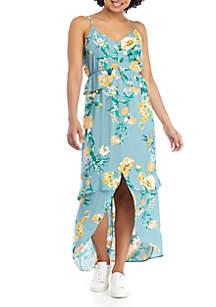 Eyeshadow Ruffle Floral Maxi Dress