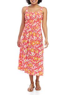 Eyeshadow Smocked Square Neck Midi Dress