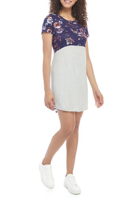 Eyeshadow Juniors Short Sleeve Color Block Floral Stripe