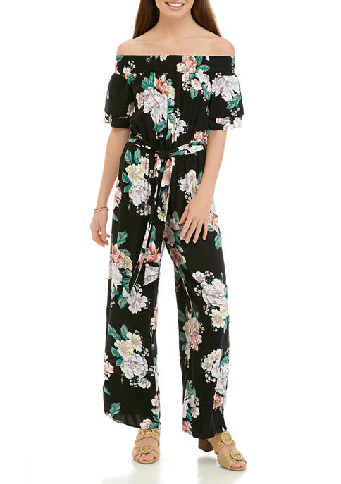Eyeshadow Juniors Off the Shoulder Woven Floral Tie