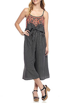 Eyeshadow Embroidered Stripe Culotte Jumpsuit