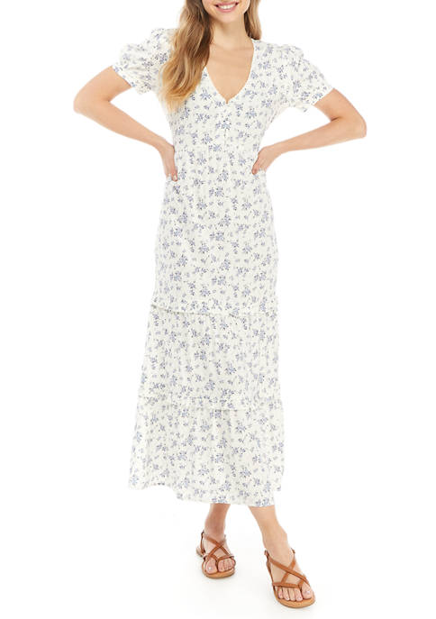 Eyeshadow Juniors Puff Sleeve Button Tiered Maxi Dress
