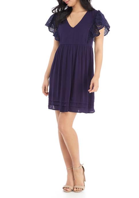 Juniors Crochet Flutter Sleeve Babydoll Dress