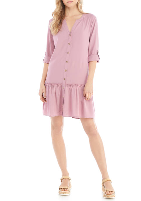 Eyeshadow Juniors Long Sleeve Button Up Dress