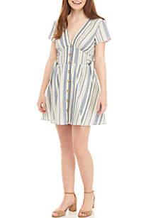 4825174f68 ... As U Wish Button Front Side Tie Linen Dress