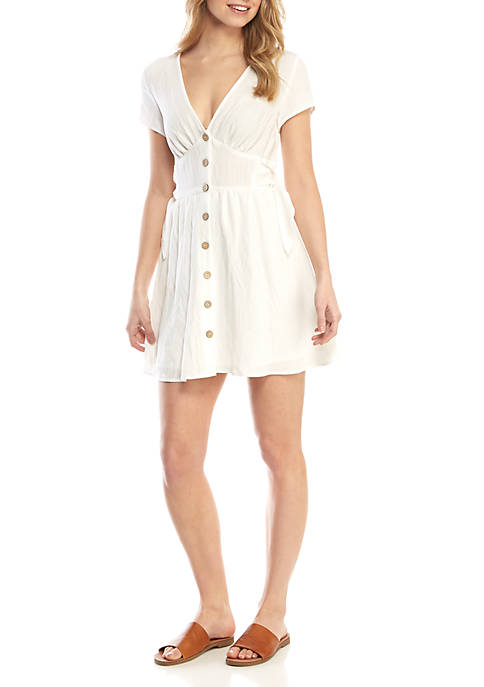 As U Wish Linen Button Front Dress
