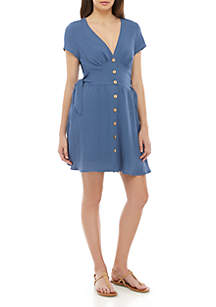 As U Wish Linen Button Front Dress