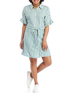 As U Wish Short Sleeve Paper Bag Waist Dress