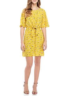 Knot Front Print Short Dress