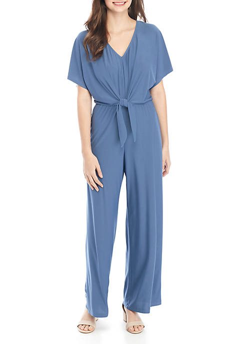 As U Wish Short Sleeve Tie Front Jumpsuit
