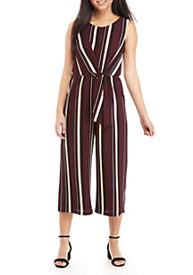 Sleeveless Stripe Tie Front Jumpsuit