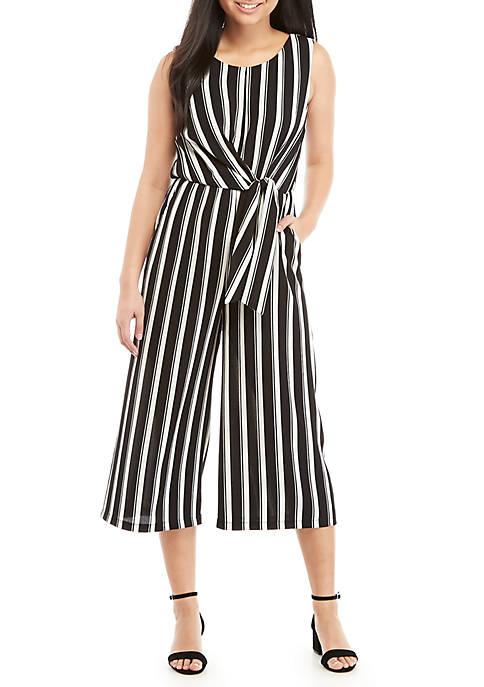 As U Wish Sleeveless Stripe Tie Front Jumpsuit