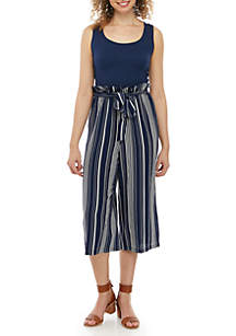 As U Wish Paperbag Waist Stripe Jumpsuit