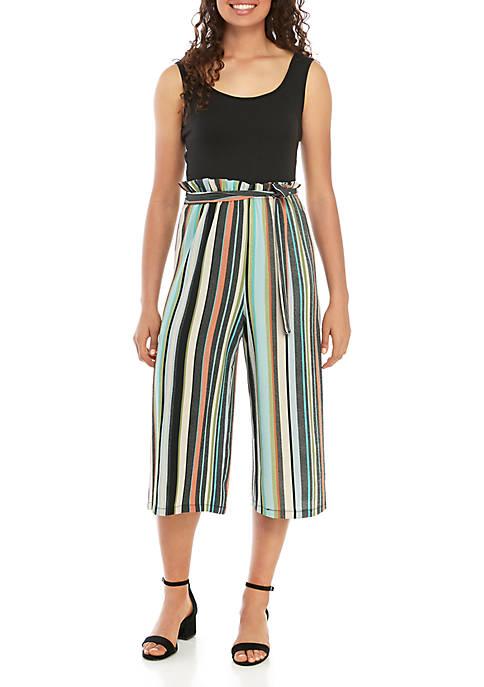 Paperbag Waist Striped Jumpsuit