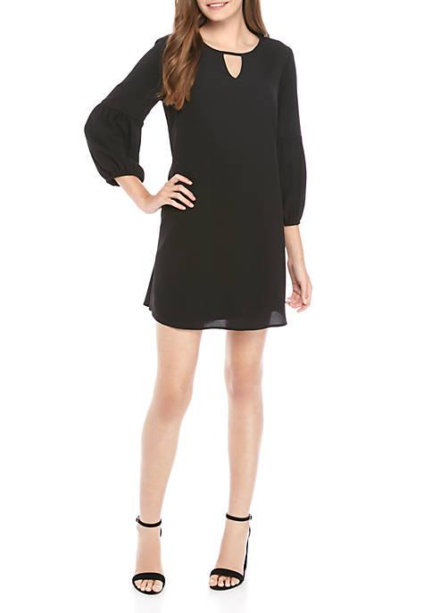 As U Wish 3/4 Sleeve Keyhole Woven Dress