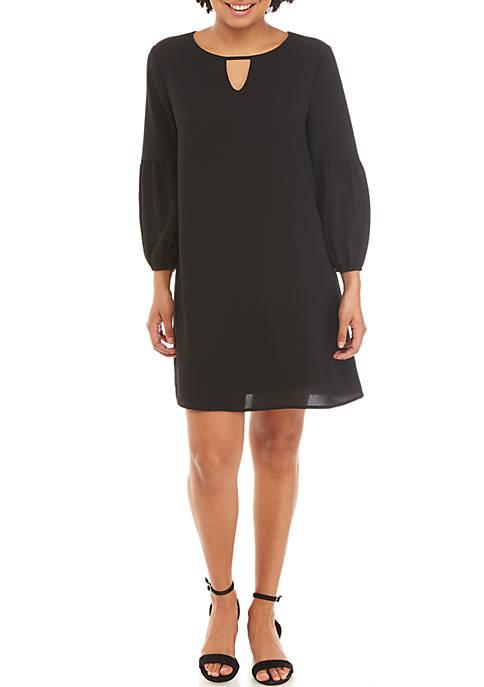 3/4 Bubble Sleeve Keyhole Dress