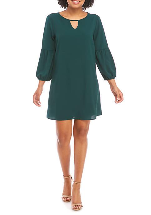 Juniors 3/4 Bubble Sleeve Keyhole Dress