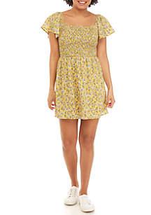 As U Wish Short Sleeve Smocked Top Floral dress