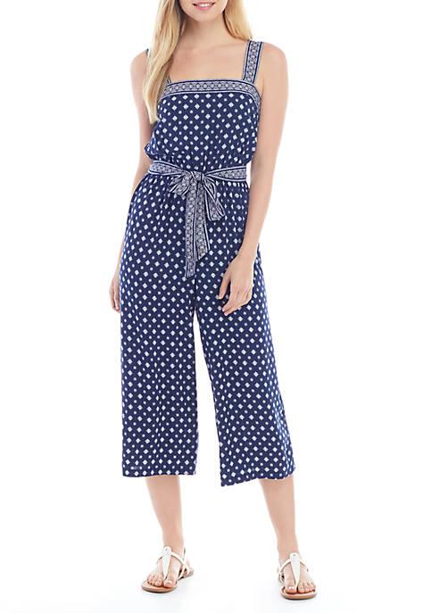 As U Wish Sleeveless Tie Printed Jumpsuit