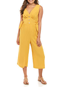 As U Wish Sleeveless Button Front Jumpsuit