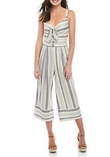 Secret Charm Tie Front Sleeveless Crop Jumpsuit