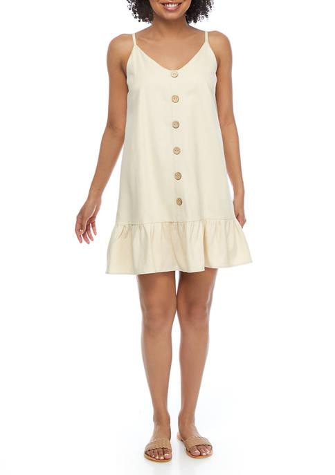 Juniors Linen Drop Waist Dress