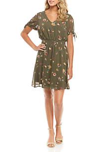 As U Wish Short Sleeve Smocked Waist Printed Dress