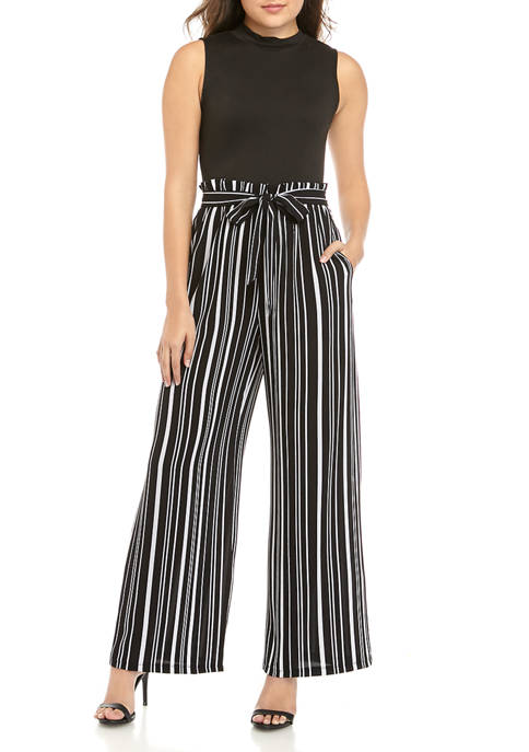 Juniors Mock Neck Paperbag Jumpsuit