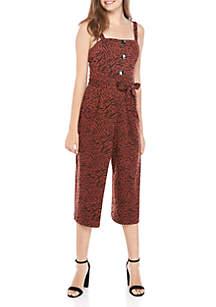As U Wish Tie Front Tank Knit Animal Print Jumpsuit