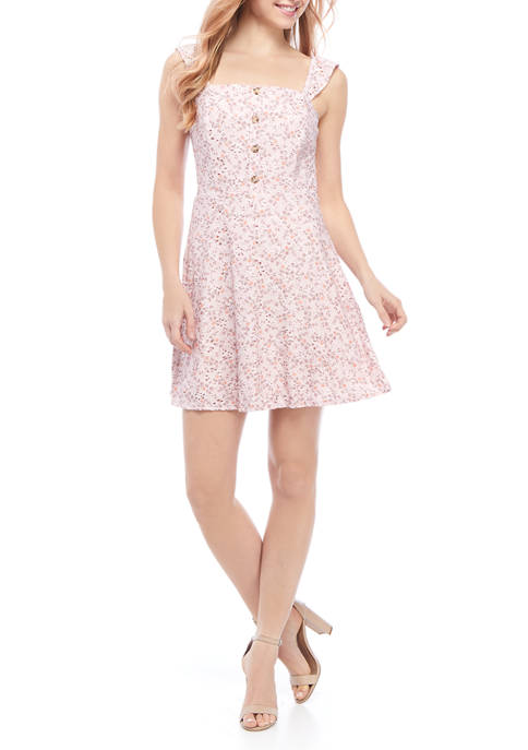 Juniors Sleeveless Floral Lace Button Front Dress