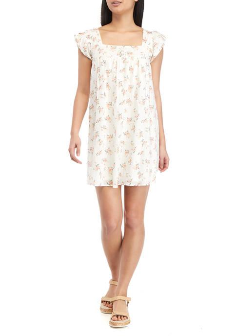 Juniors Floral Flutter Sleeve Shift Dress