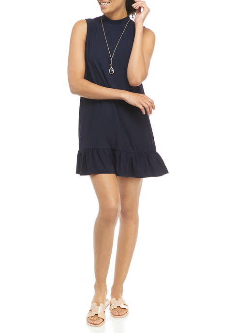 As U Wish Juniors Sleeveless Dress with Necklace
