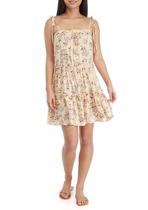 As U Wish Juniors Floral Sleeveless Babydoll Dress
