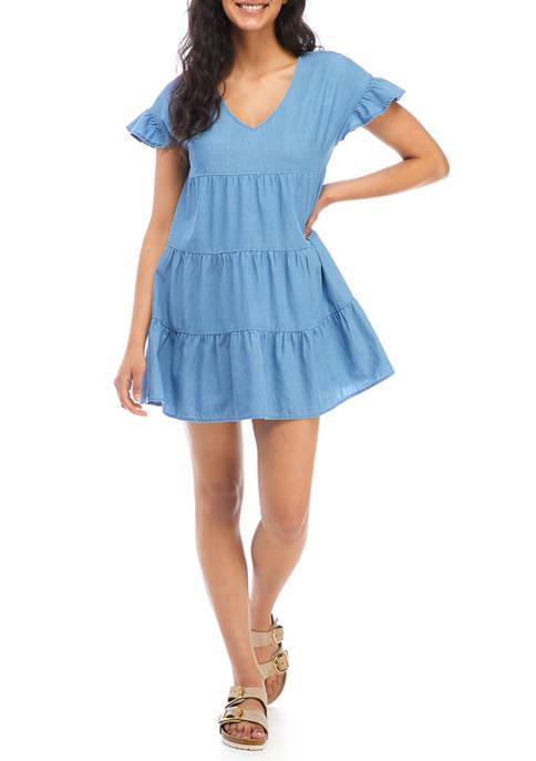 Juniors Flutter Sleeve Tiered Denim Babydoll Dress
