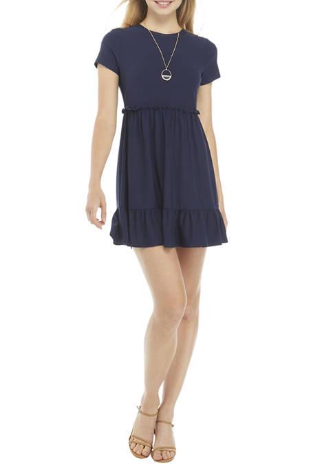 As U Wish Juniors Short Sleeve Ruffle Dress