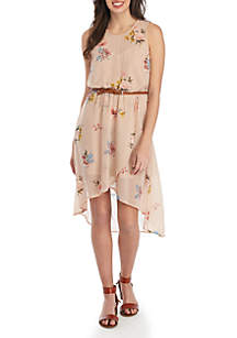 Secret Charm Sleeveless Belted Floral Asymmetric Hem Dress