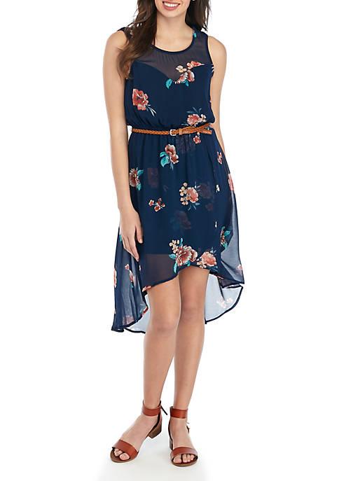 Sleeveless Belted Floral Asymmetric Hem Dress