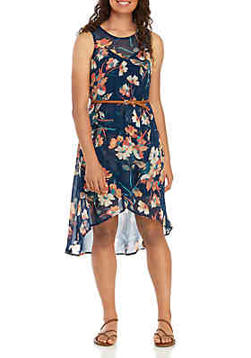 As U Wish Sleeveless Belted Floral Asymmetrical Hem Dress ... c92bc27d0