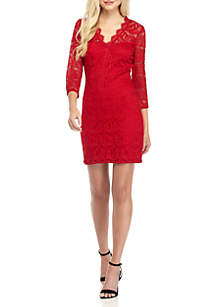 Three-Quarter Sleeve Allover Lace Dress
