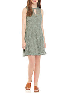 As U Wish Allover Lace Skater Dress