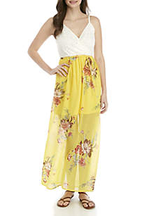 As U Wish V Neck Lace Top Floral Chiffon Maxi Dress